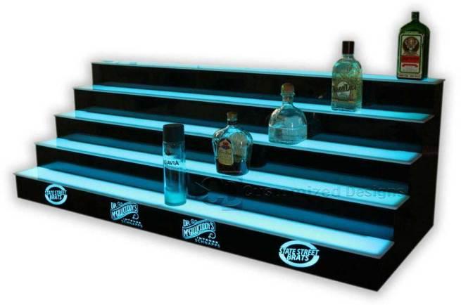5 Tier LED Lighted Back Bar Shelving 10