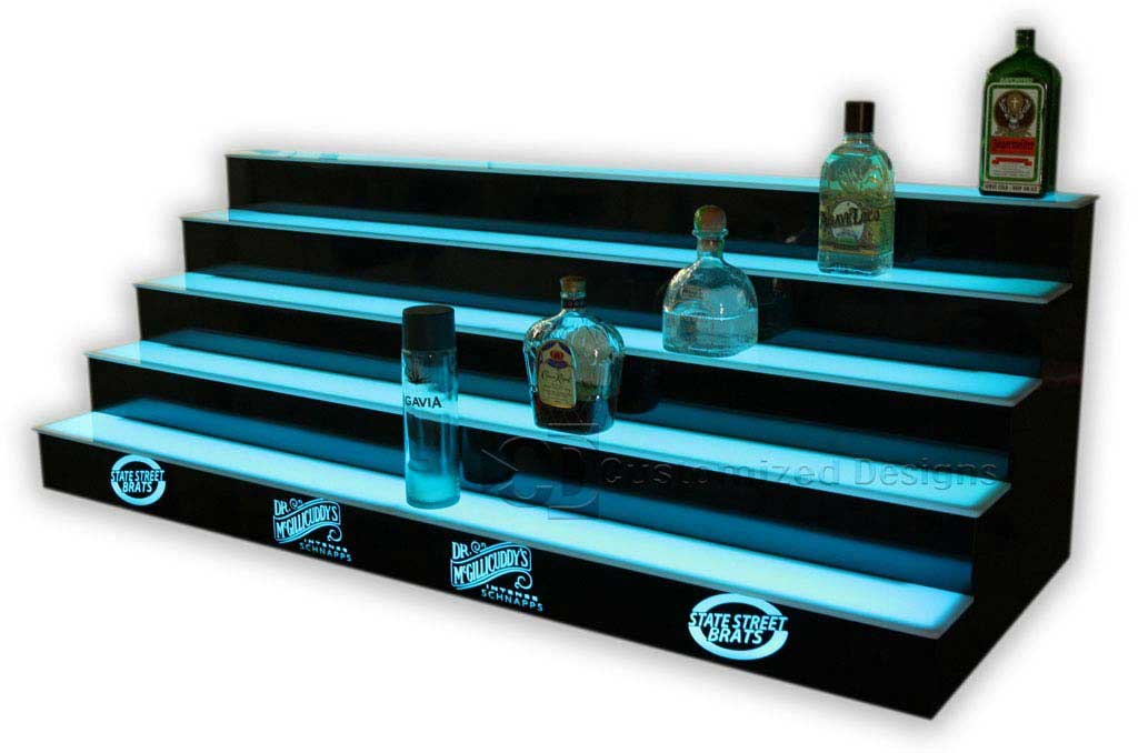 5 Tier LED Lighted Back Bar Shelving 10