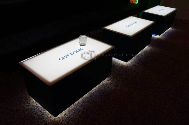 LED Coffee Tables w/ Grey Goose Logos