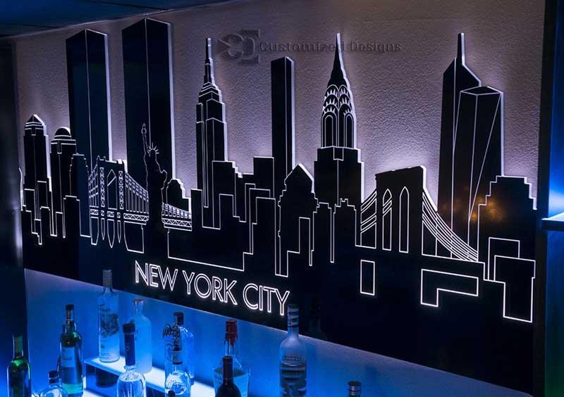 New York City LED Lighted Skyline Art