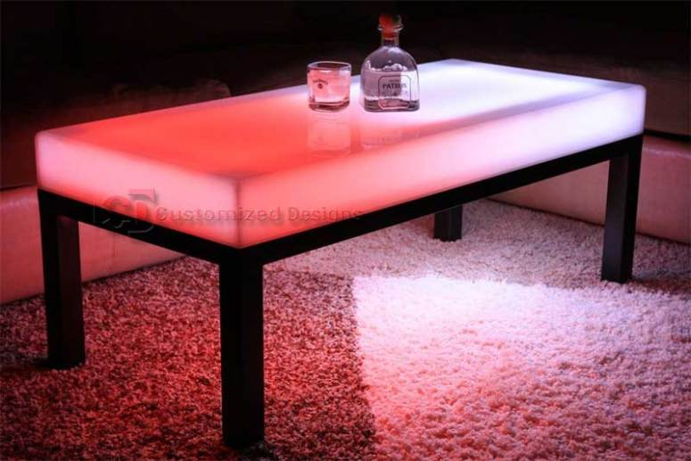 """LED Lighted Coffee Table - Aurora Series - Shown with 2"""" legs. Current models have 3"""" legs."""