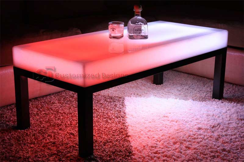 "LED Lighted Coffee Table - Aurora Series - Shown with 2"" legs. Current models have 3"" legs."