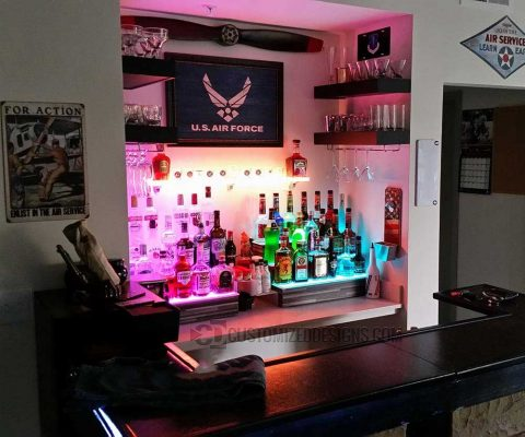 Air Force Themed Home Back Bar Display