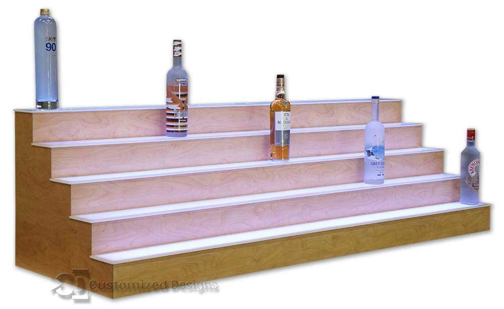 5 Tier Liquor Display with Amber Curly Maple Finish