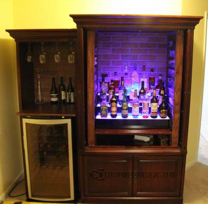 LED Lighted Back Bar Cabinet Shelving