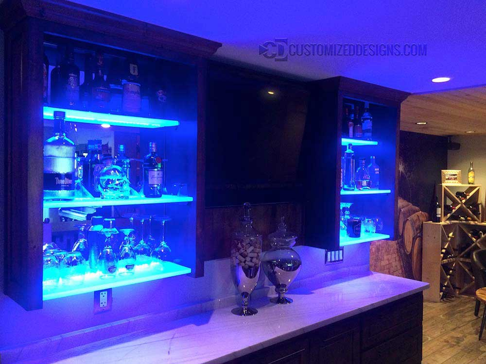 Lighted Cabinet Bar Shelves
