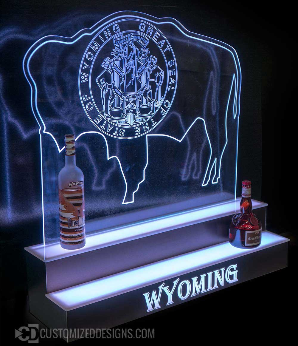 2 Tier Bar Display w/ Edge Wyoming Panel