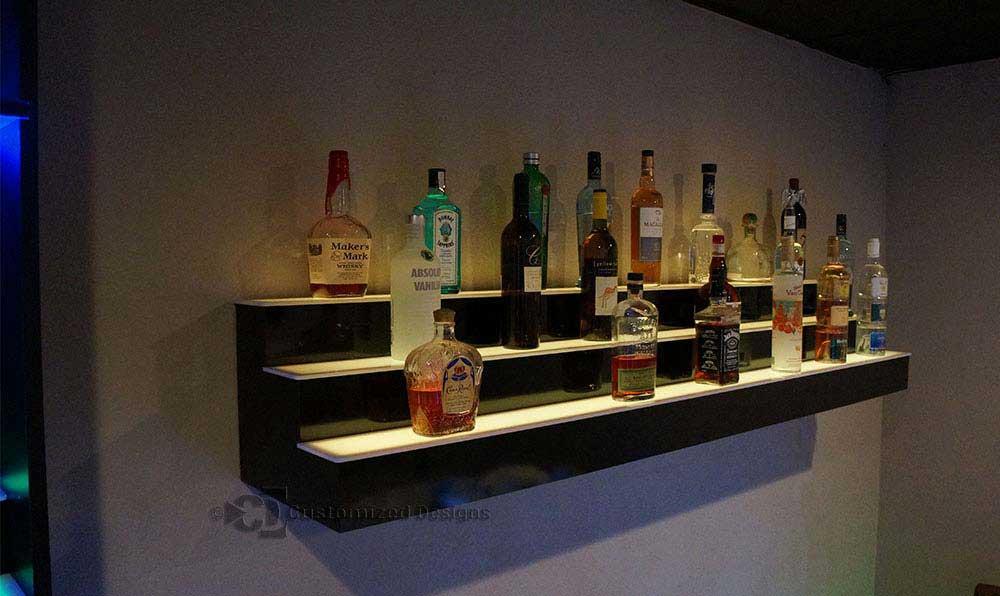 lighted bar shelves 3 tiers custom options free shipping. Black Bedroom Furniture Sets. Home Design Ideas