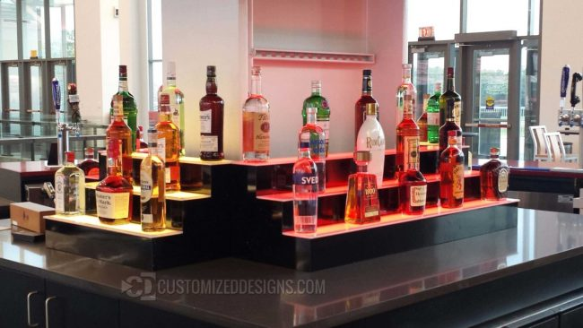 3 Tier Bar Shelving Units with LED Lighting