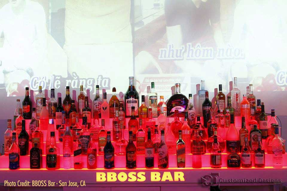 5 Tier Lighted Liquor Display