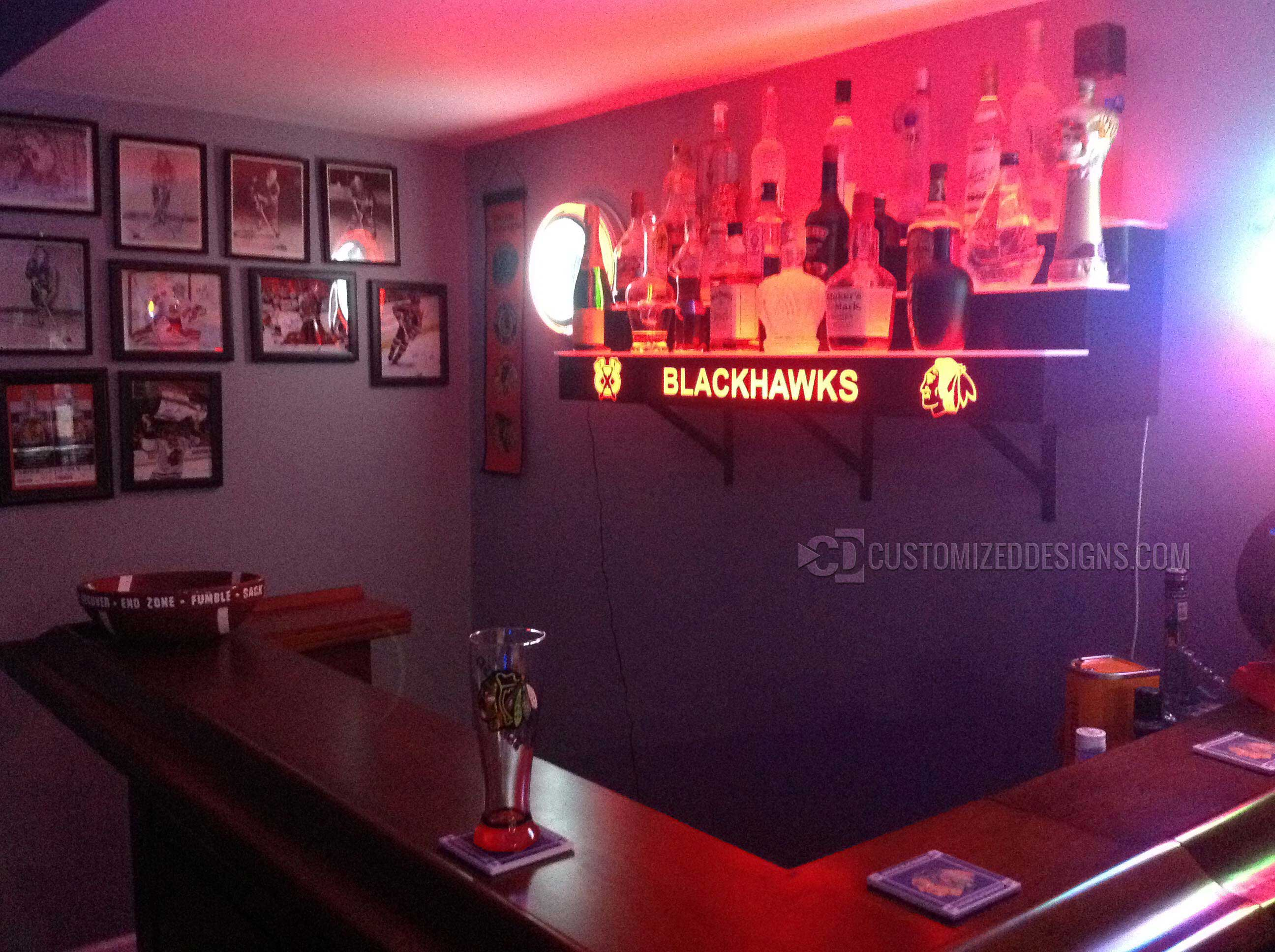 Chicago Blackhawks Themed Home Back Bar