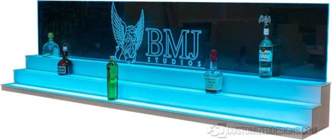 Low Profile Liquor Display with Edge Lit Sign - White Finish