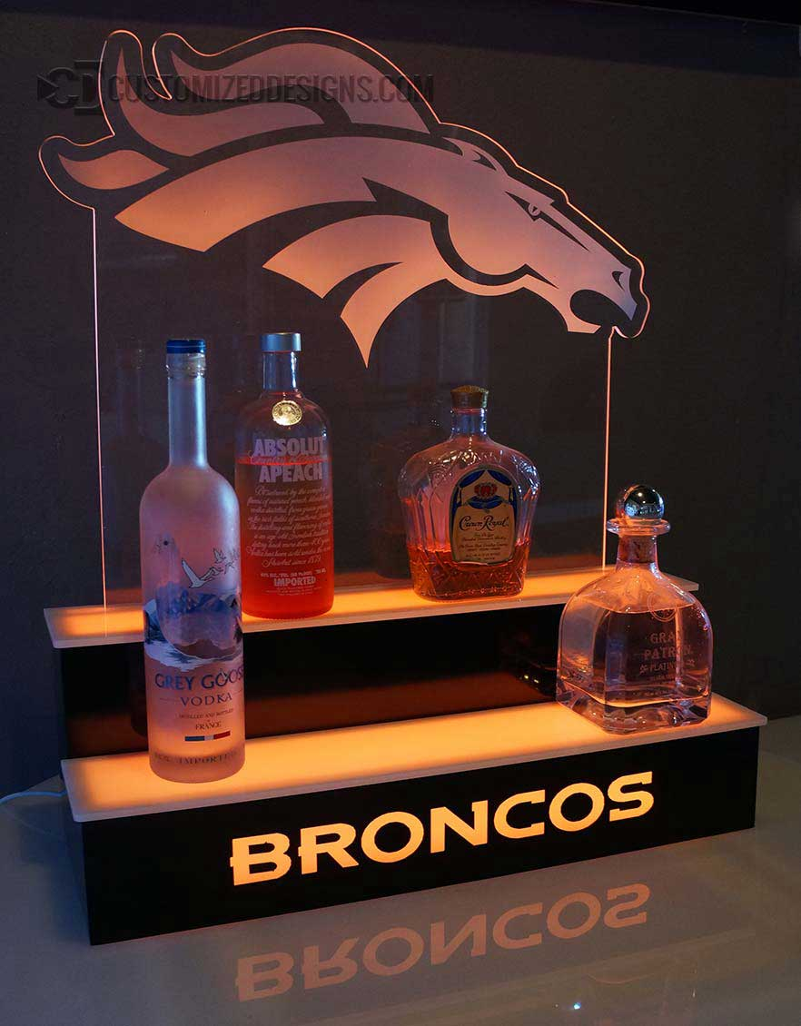 Denver Broncos Lighted Liquor Shelving w/ Edge Lit Logo