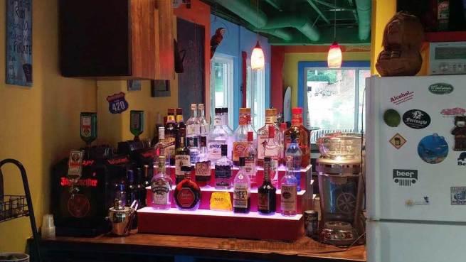 3 Tier Home Bar Liquor Display w/ Burgundy Finish