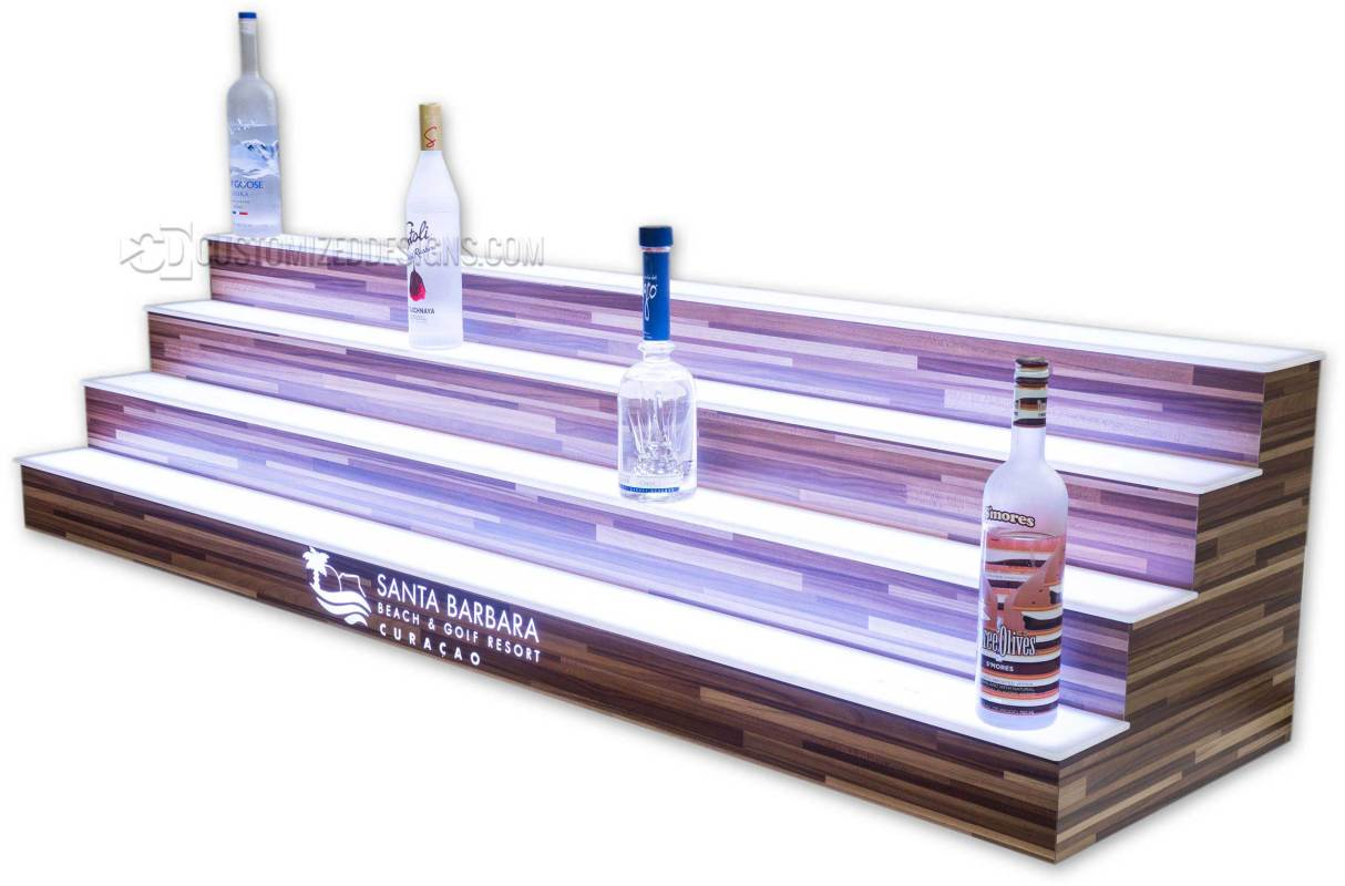 4 Tier Bar Shelving with Butcher Block Wood Finish