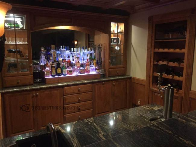 Sci-Fi Themed Home Bar w/ Cherry Wood Shelves
