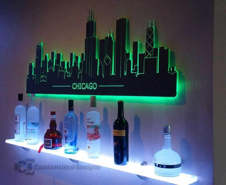 Chicago LED Lighted Skyline Wall Art