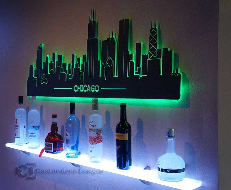 Chicago LED Lighted Skyline Wall Art