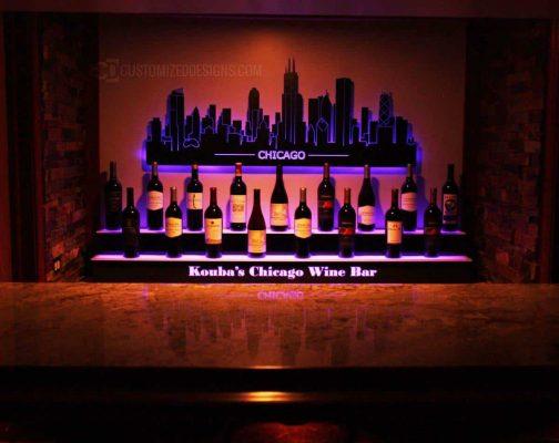 Home Back Bar Display & Lighted Chicago Skyline