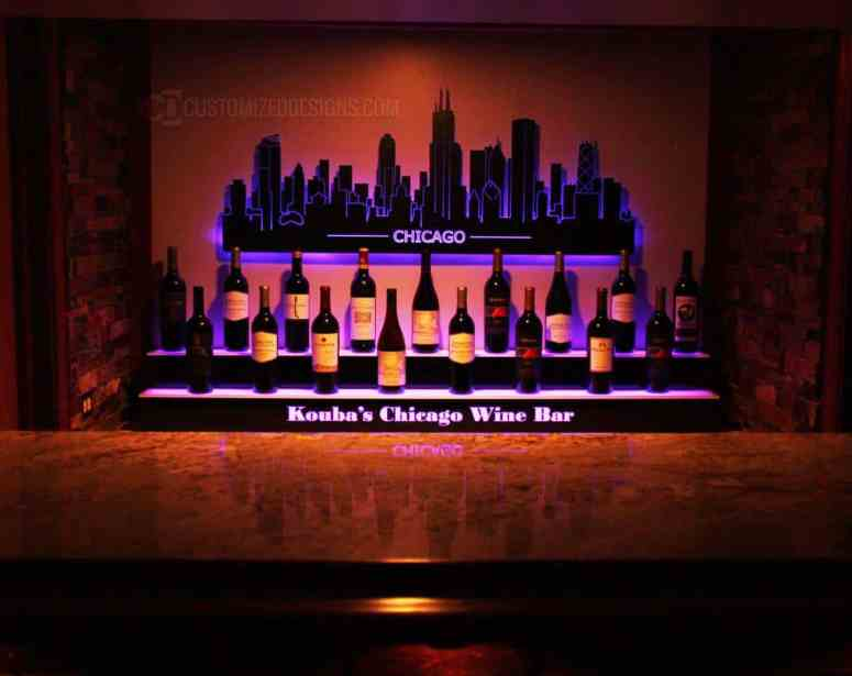 Home Back Bar Display & Lighted Chicago Skyline