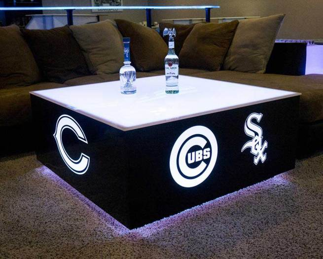 LED Coffee Table w/ Chicago Sports Logos