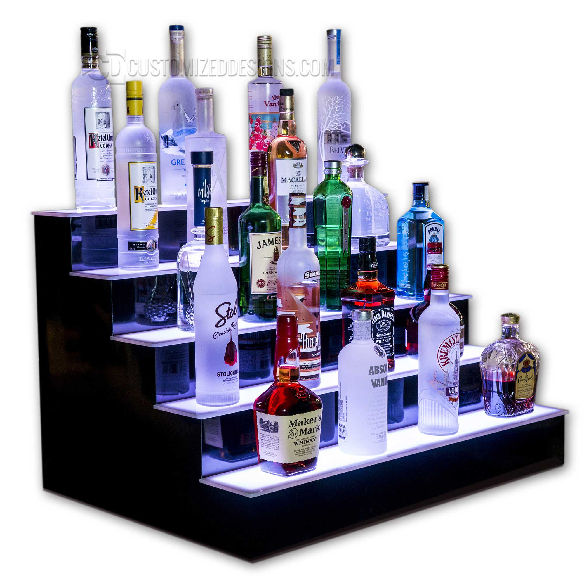 5 Tier LED Lighted Back Bar Shelving