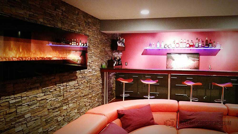 Contemporary Home Basement Bar w/ LED Bar Shelving