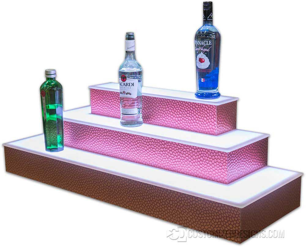 3 Tier Wrap Liquor Shelves w/ Cobblestone Copper Finish