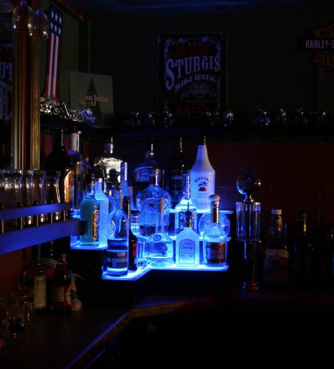LED Lighted Corner Bar Shelves