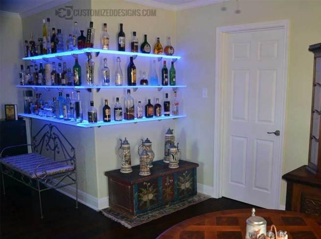 LED Lighted Floating Corner Bar Shelves