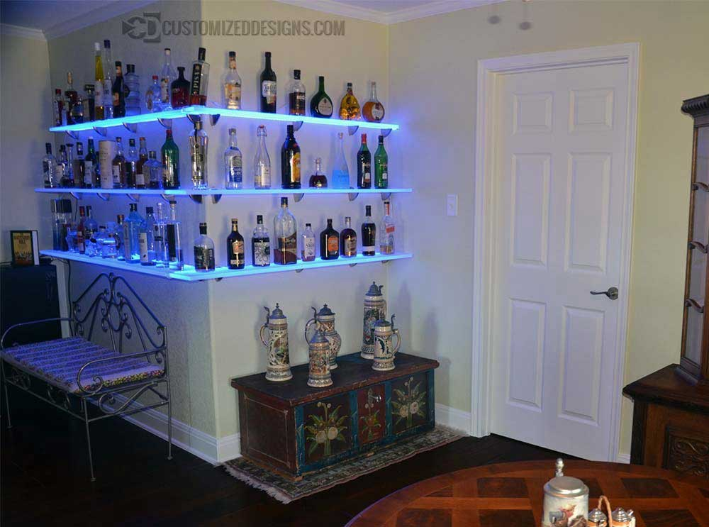 LED Lighted Floating Corner Bar Shelves