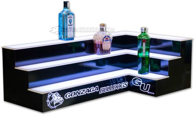 3 Tier Corner Bar Shelving w/ Two Sided Logo