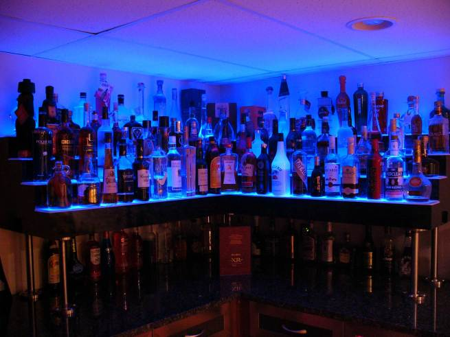 Basement Corner Bar Shelving