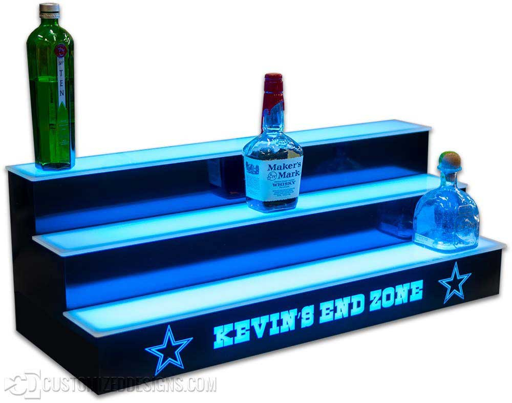 3 Tier Bottle Display w/ Dallas Cowboys Font Logo