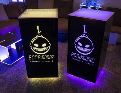 Cubix High Boy Tables w/ Lighted E-Liquid Logos