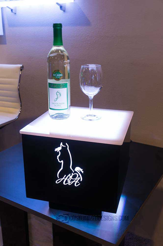 Cubix LED Side Table w/ Equine Logo