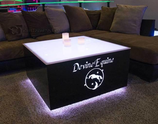 Cubix 36x36 LED Coffee Table - Equine Logo