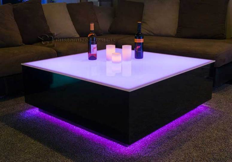 Large LED Coffee Table with LED Lighting