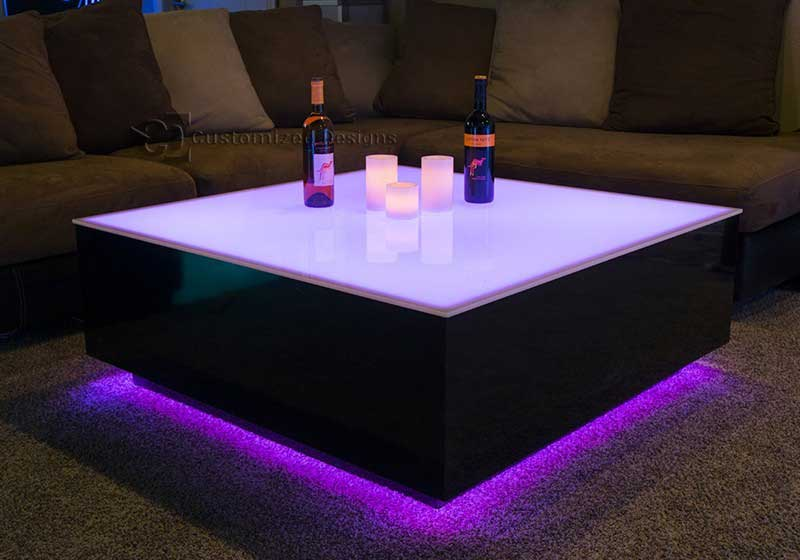 Large Led Coffee Table With Lighting