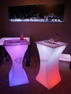 Curve LED Lighted High Boy Tables