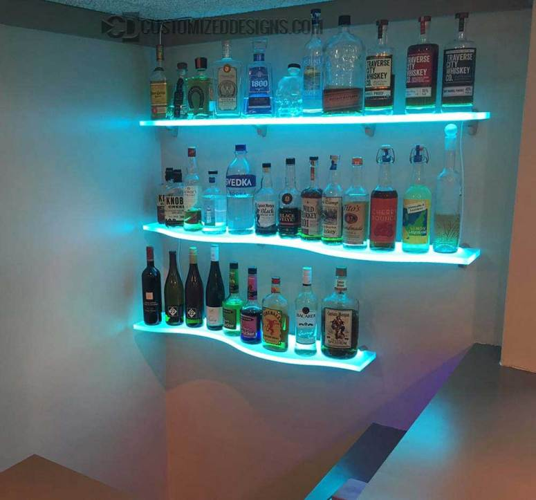 Curved LED Lighted Shelving for Home & Commercial Bars