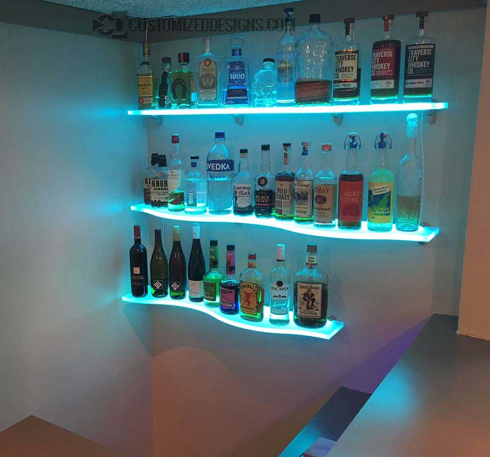 36 Quot Curved Led Lighted Floating Shelves By Customized Designs