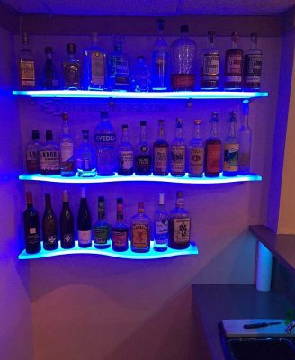 Curved Lighted Home Bar Shelving