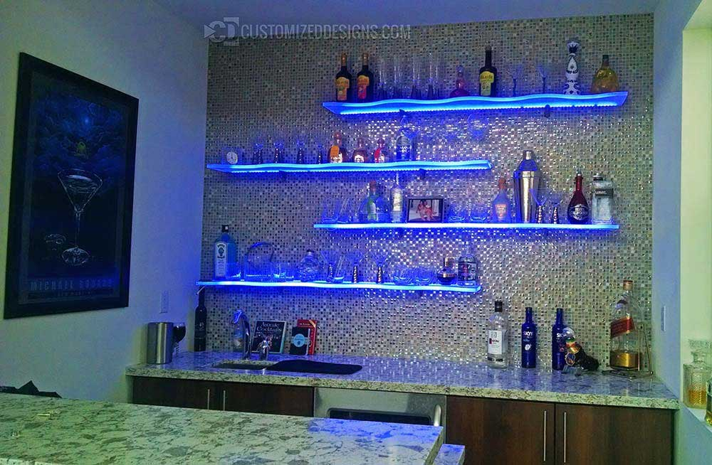 Curved LED Bar Shelving - Home Bar