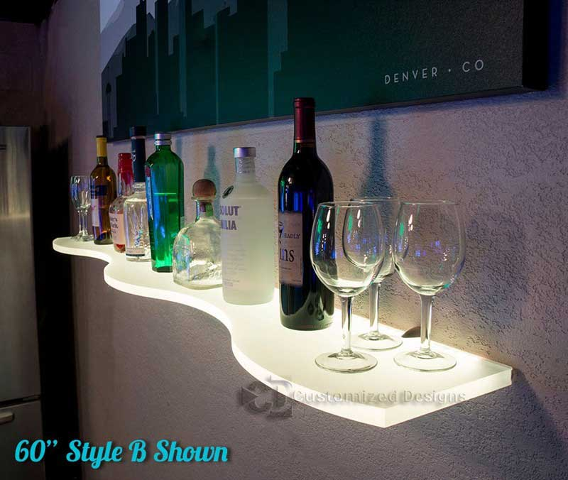 LED Lighted Curved Bar Shelving