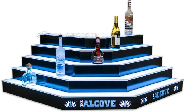 Custom Corner Liquor Display for Alcove Cantina