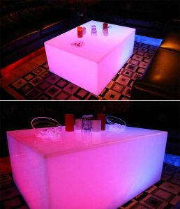 Custom Lumen Coffee Table w/ Ice Bucket Slots for Bottle Service