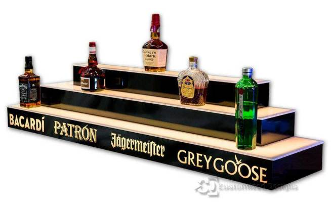 Lighted Bar Shelving, 3 Tier, Wrap Style