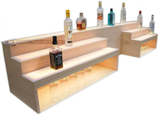 Custom Raised Bar Shelving w/ Storage & POS System Opening - 8