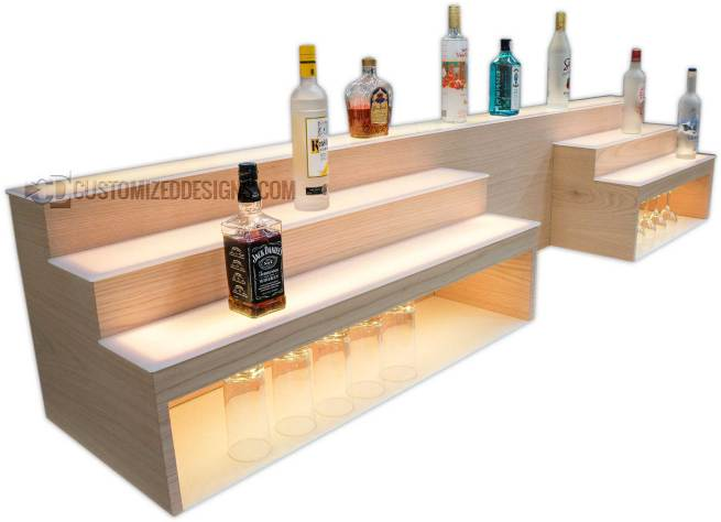 "Custom Raised Bar Shelving w/ Storage & POS System Opening - 8"" High Storage"